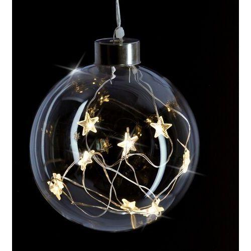 Solight dekoracja świąteczna świecąca szklana kula, 10 led, 2x aa, ip20 (8592718023027)