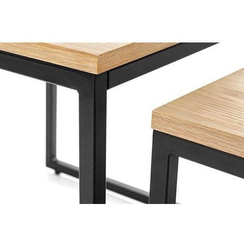 Zestaw stolików LOFT DUO - blat dębowy, nogi metalowe