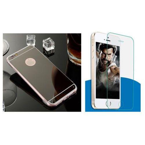 Slim mirror / perfect glass Zestaw | slim mirror case czarny + szkło ochronne perfect glass | etui dla apple iphone 6 plus / 6s plus