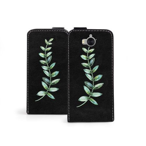 Huawei Y6 (2017) - etui na telefon Flip Fantastic - zielona gałązka, kolor zielony