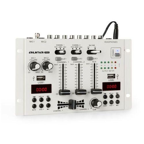 Auna DJ-22BT MKII, 3/2-kanałowy didżejski pulpit mikserski, Bluetooth, 2 x USB, montaż w racku, biały