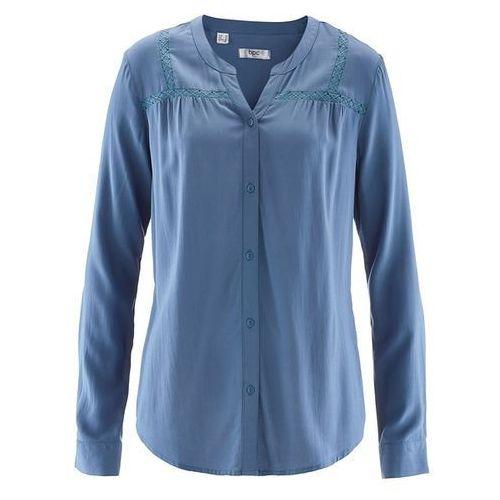 Bluzka z koronkowymi zdobieniami bonprix niebieski dżins, kolor niebieski, od rozmiaru 38