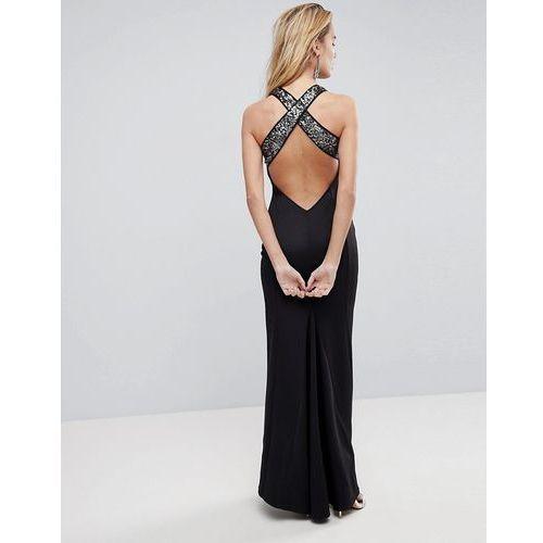 ASOS Sequin Bodice Strappy Back Fishtail Maxi Dress - Black, kolor czarny