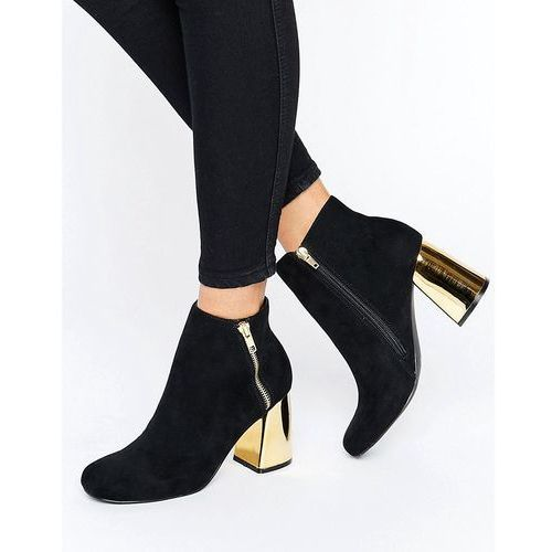 New Look Suedette Heeled Ankle Boot with Metal Block Heel. - Black
