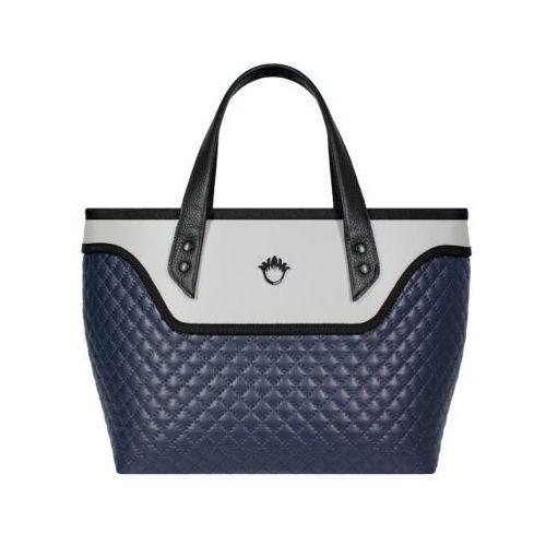 Kufer do ręki flowerbag (granatowo-szary, pikowany) marki Goshico