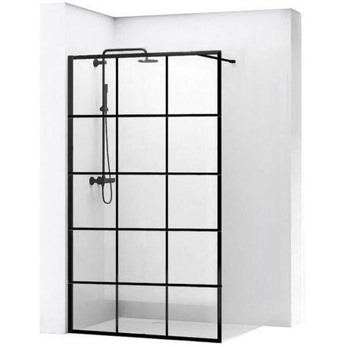REA BLER 1 Ścianka prysznicowa 110cm, czarne profile + powłoka EASY CLEAN, loftowe, REA-K7956