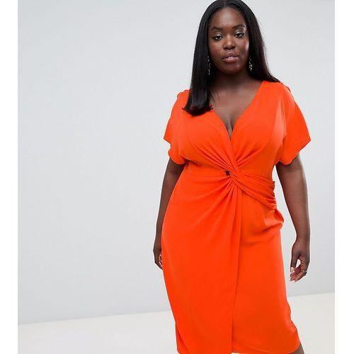 ASOS DESIGN Curve Twist Midi Dress With Kimono Sleeve - Red, 1 rozmiar