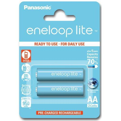 2 x Panasonic Eneloop Lite R6/AA 950mAh BK-4LCCE/2BE (blister), BK-3MCCE/2BE