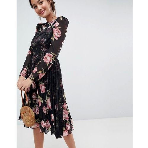 ASOS Floral Insert Midi Dress with Long Sleeves - Multi