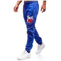 Spodnie męskie dresowe joggery niebieskie Denley 55089, kolor niebieski