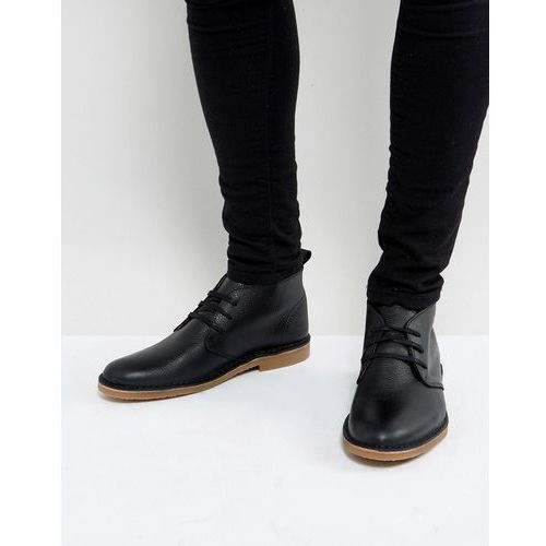 Selected Homme Royce Leather Desert Boots In Black - Black