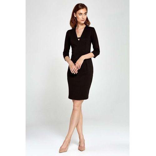 Czarna sukienka dopasowana z dekoltem v z rękawem 3/4, Nife, 36-44