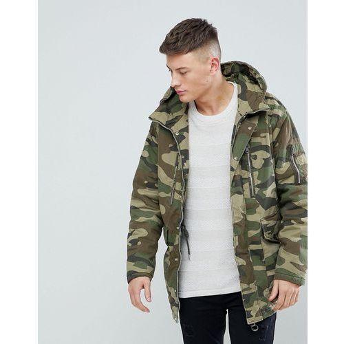 Pull&Bear Padded Parka Jacket With Hood In Khaki - Green