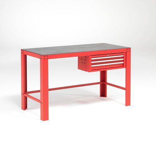 Stół warsztatowy, 3 szuflady, 1000 kg, 700x1515 mm, czerwony, 23449