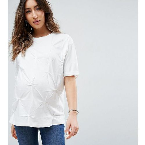 ASOS Maternity T-Shirt in Oversized Fit with Pin Tuck Detail - White