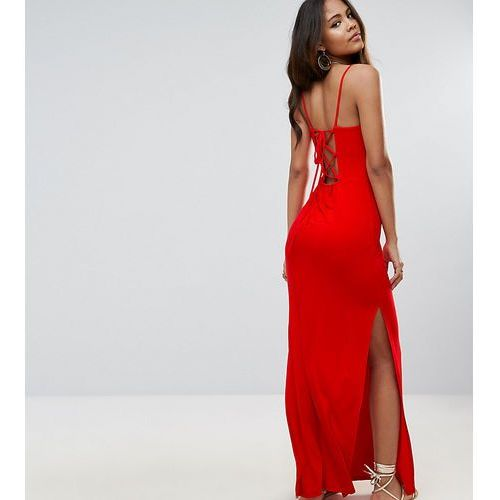 lace up back maxi dress - red marki Asos tall