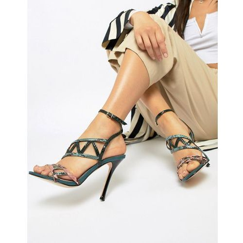caged heeled sandals in green - green marki River island