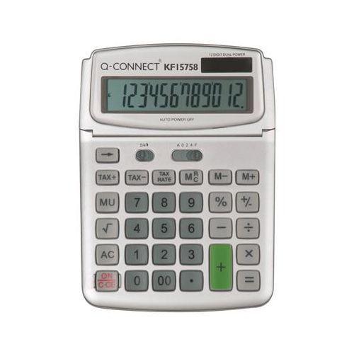 Kalkulator biurkowy Q-CONNECT 12-cyfrowy, 140x180mm, szary, KF15758