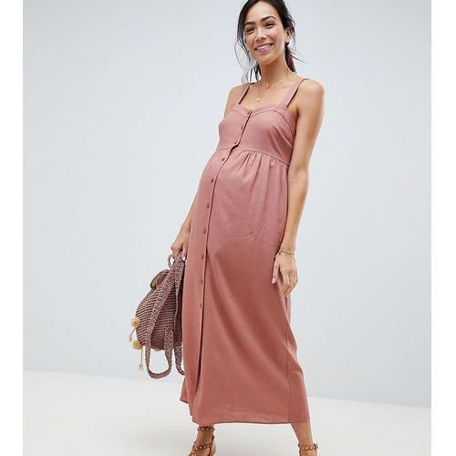 ASOS DESIGN Maternity Linen Button Through Maxi Dress - Pink, kolor różowy