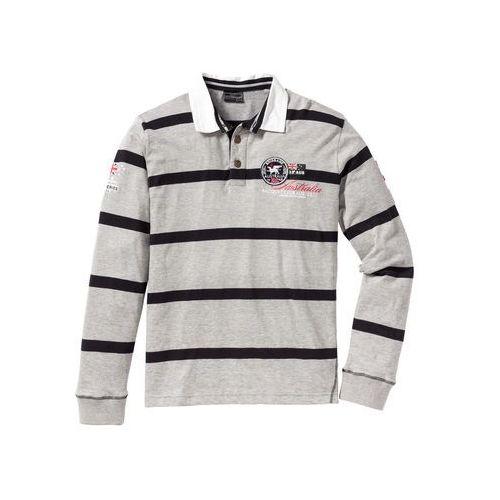 Shirt polo z długim rękawem Regular Fit bonprix jasnoszary melanż - czarny w paski