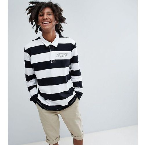 exclusive long sleeved striped polo top in black and white with logo - black marki Pull&bear