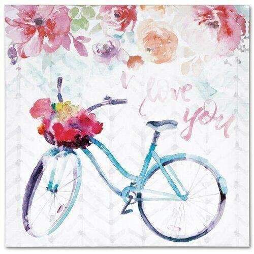 Obraz na płótnie Floral bicycle, 28 x 28 cm, 684853