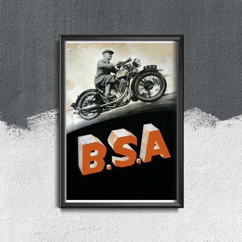 Plakat retro do salonu plakat retro do salonu b.s. a motocykle marki Vintageposteria.pl