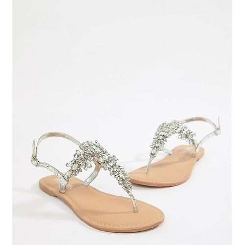 Asos design fairlight leather extra wide fit embellished flat sandals - silver