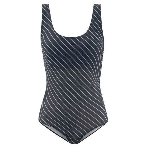 Kostium kąpielowy czarny + w paski, Bonprix, M-XXXXL