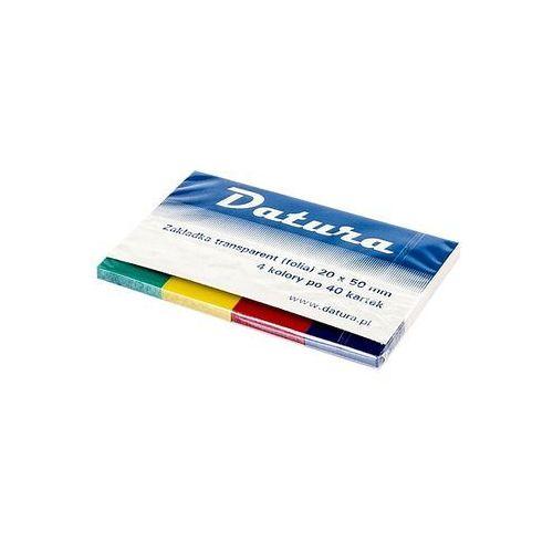 Zakładki indeksujące 20x50mm folia transparent Datura 4 kolory x 40 kartek, kup u jednego z partnerów