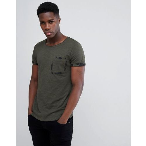 Tom tailor t-shirt with printed camo pocket - green