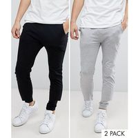 ASOS DESIGN lightweight skinny joggers 2 pack black/ grey marl SAVE - Multi