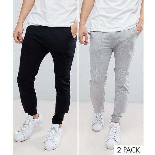 ASOS DESIGN lightweight skinny joggers 2 pack black/ grey marl SAVE - Multi, w 6 rozmiarach