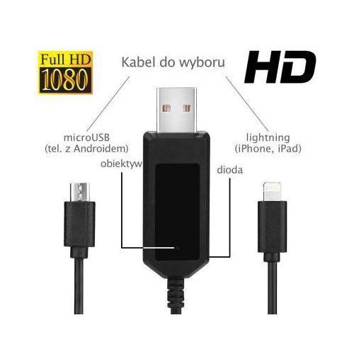 Szpiegowski Kabel USB-microUSB HD/FULL HD (8GB), Nagrywający Obraz/Dźwięk + Detekcja Ruchu +...