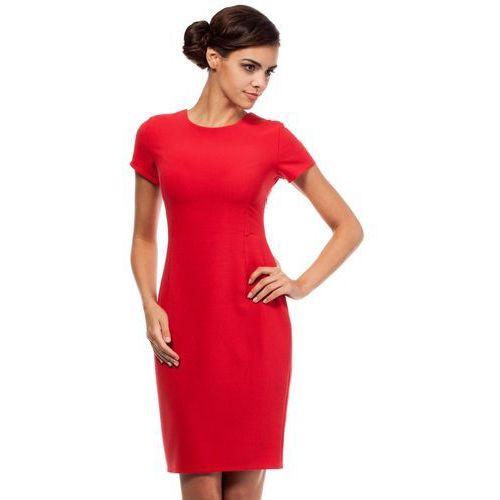 Czerwona ołówkowa sukienka z wycięciami na plecach z krótkim rękawem marki Moe