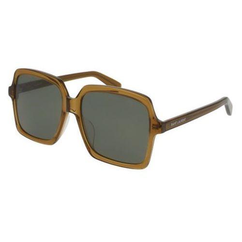 Okulary Słoneczne Saint Laurent SL 174/F Asian Fit 004, kolor żółty