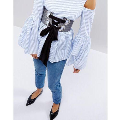 pinstripe large eyelet corset belt with chiffon tie - grey marki Asos