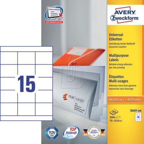 Avery zweckform Etykiety uniwersalne  trwałe 70 x 50,8mm 200 ark./op. 3669-200