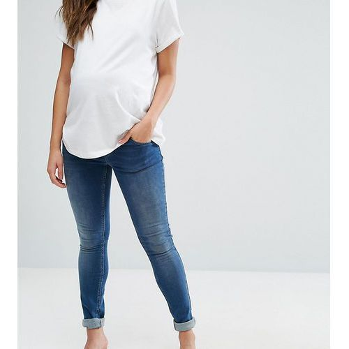 ridley skinny jean in mid wash with over the bump waistband - blue, Asos maternity