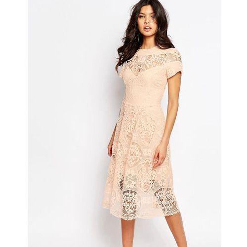 premium lace detail midi dress - pink marki River island