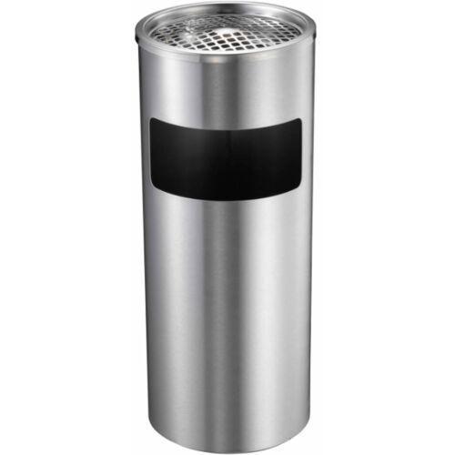 Koszopopielnica stojąca chromowana 17L matowa Kosz na śmieci z popielniczką - popielnica stojąca, kolor stalowy