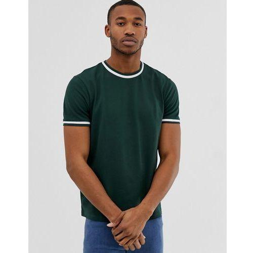 Bershka t-shirt in green with striped taping - Green, w 5 rozmiarach