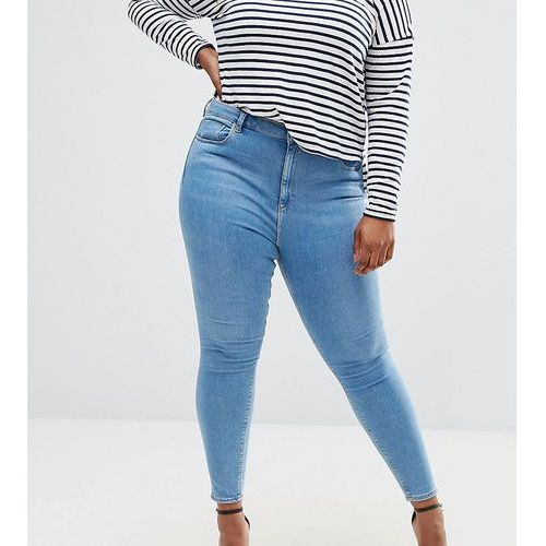 ASOS CURVE RIDLEY Skinny Jeans In Light Blue Anais Wash - Blue, skinny