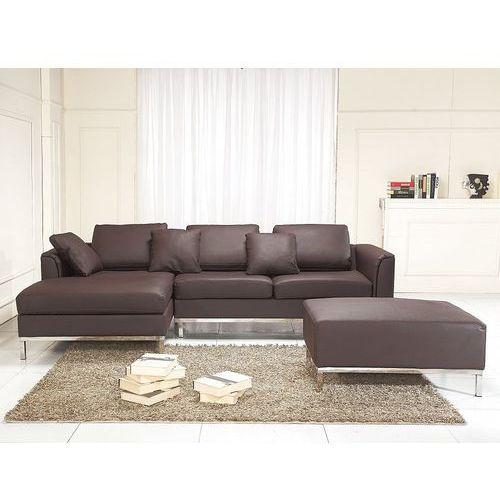 Sofa narożna P - skórzana - brązowa - sofa z pufą - kanapa OSLO