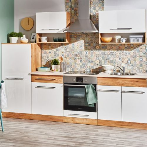 Deftrans Gotowy zestaw mebli kuchennych double 2,6 m dąb złoty/biały