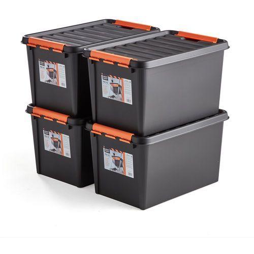Aj produkty Pojemniki nolan z tworzywa sztucznego z pokrywą, 50 l, 4 szt., 590x390x345 mm, czarny