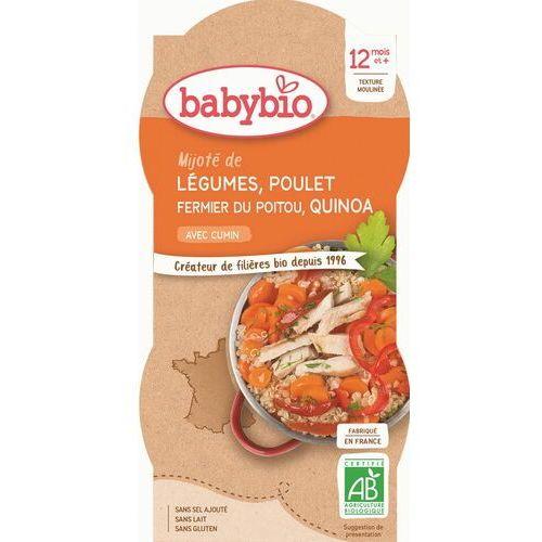 Babybio Danie quinoa z kurczakiem i warzywami od 12 miesiąca bezglutenowy bio 2x200 g (3288131520605)