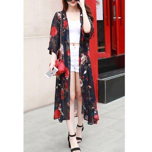 Chic women's 3/4 sleeve floral print thin kimono, marki Rosewholesale