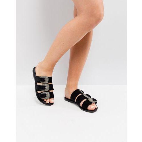 Park lane suede western flat sandals - black