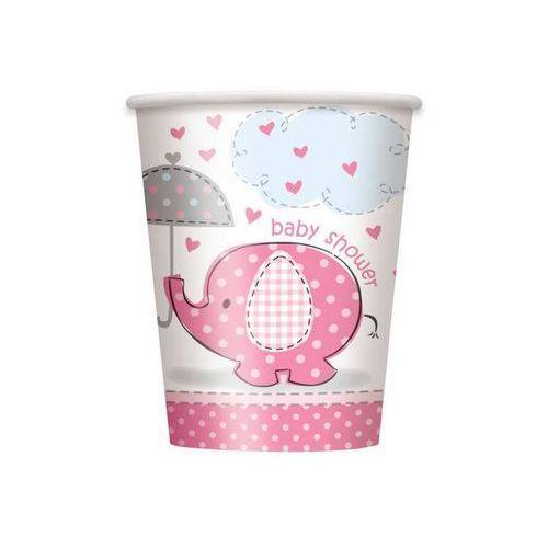 Kubeczki na baby shower słonik z parasolem dla dziewczynki - 266 ml - 8 szt. marki Unique